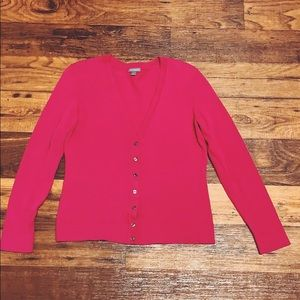 Women's ANN TAYLOR pink button up sweater